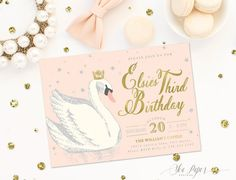 Elsie Swan Princess Birthday Invitation: Blush Pink, Gold & Silver Glitter Party Invite. First, Second, Third, Fourth, Any Age!