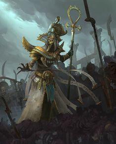 Grand Hierophant Khatep. Warhammer Fantasy, Warhammer Art, Fantasy Battle, Fantasy Rpg, Dark Fantasy Art, Tomb Kings, Fantasy Monster, Necromancer, Egyptian Art