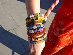 African bangles made from recycled plastic and beads.