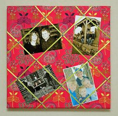 Add fabric, ribbon, and brads to a canvas to create a memory board to display photos.