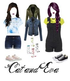 """""""Cat and Eva"""" by evakibeautiful on Polyvore featuring Jane Norman, Lime Crime, Converse, LE3NO and VILA"""