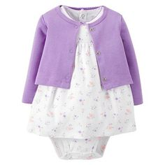 Just One You™Made by Carter's® Newborn Girls' 2 Piece Dress Set - Purple/White