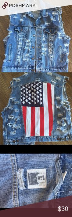LF distressed jean vest --quick sale! Cool Levi's vest upcycled by trendy LF. Distressed. American flag on back. Size XL. (reposh) Photo from Internet. LF Jackets & Coats Vests
