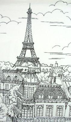 French EIFFEL TOWER Plate Black  and White Porcelain PARIS-etplt