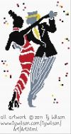 Free and good quality counted cross stitch patterns to print. Cross Stitch Music, Cross Stitch Love, Counted Cross Stitch Patterns, Black Dancers, Wilson Art, Christmas Snowman, Couple Fun, Fun Music, Needlework