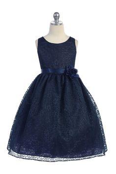 Navy Lovely Floral Lace Flower Girl Dress