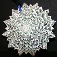 Handmade+Paper+Ornaments | Handmade paper kaleidoscope ornament from an original ... | Zentangle