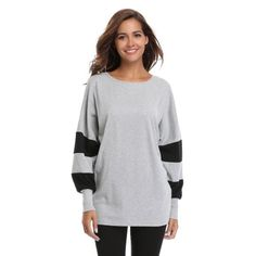 MISS MOLY Tops for women, Tunic Round Neck Batwing Long Sleeves