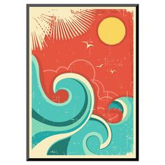 Art.com Vintage Tropical Background With Sea Waves And Sun - Mounted Print,