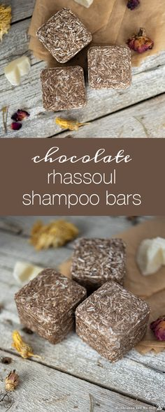 Chocolate Rhassoul Shampoo Bars - Humblebee & Me - I've been working on these chocolatey, clay-spiked shampoo bars since early March, and I'm super - How To Make Shampoo, Diy Shampoo, Homemade Shampoo, Solid Shampoo, Shampoo Bar, Homemade Sunscreen, Homemade Conditioner, Homemade Facials, The Body Shop