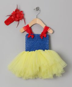 Take a look at this Blue & Yellow Tutu Dress & Crochet Headband - Infant & Toddler by Tutu Mania on #zulily today!