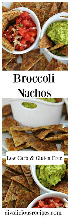 Healthy low carb and gluten free nachos made with broccoli. Crispy, cheesey and perfect served along with a tasty dip. Recipe: http://divaliciousrecipes.com/2016/02/02/broccoli-nacho-chips/