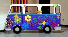 groovy hippie van prop (4.5'x7.5') for Irene's hippie themed birthday, Nov 1, 2014, Mississauga, ON; design by Davis Floral Creations