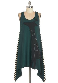 Graphic Giraffe Dress by Heel Athens Lab - Green, Stripes, Casual, Quirky, Critters, Shift, Sleeveless, Fall, Knit, Short, Cotton, Black, White, Print with Animals