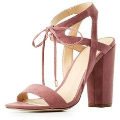 Charlotte Russe Lace-Up Cut-Out Sandals ($22) ❤ liked on Polyvore featuring shoes, sandals, wide width sandals, lace up block heel sandals, wide heel sandals, chunky block heel sandals and chunky heel sandals
