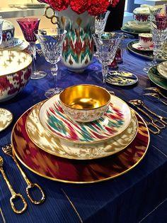 Hermes Voyage en Ikat dinnerware. Love the flatware.