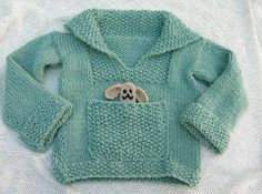 Free knitting pattern: children's sweater with pocket. The original website has been removed but I found the pattern on the Wayback machine