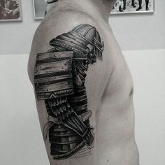 Black Ink Samurai Warrior Tattoo On Man Right Half Sleeve
