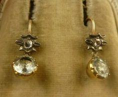 Georgian Rose Cut Diamond Aquamarine Silver Gold Earrings Circa 1800   eBay