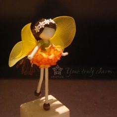 Orange Ballerina Doll, Yellow Fairy Miniature, No face doll, Colourful Flower Doll, Angel Ornament