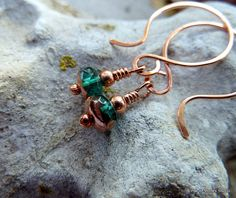 Earrings, Copper and Teal, Gorgeous Faceted Teal Czech Glass with Copper Accents, Solid Copper Metal, Sweet Petite Go Anywhere Fashion