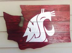 Beautiful, handmade WSU Cougar wooden wall art. Stained in deep crimson color with silver cougar logo painted on. You can customize it with any logo,