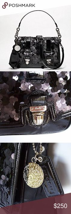 """Coach sequins poppy handbag Coach poppy collection. Used once — sat in closet and deserves a new home! Black special edition sequins poppy handbag in mint condition. Black sequins with silver hardware. Top flap has dual push lock closure. Flat detachable leather strap with 20"""" drop. Single poppy hang tag with bow tassel and Riyadh silver coach poppy love engraved hang tag. Full satin fabric lining. One silver zip pocket inside. Approximate measurements : 8.5"""" H x 2.5 """"D x 11.5""""W no damage…"""