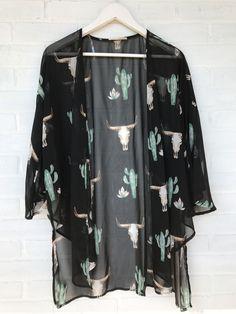 Bull Skull & Cactus Kimono
