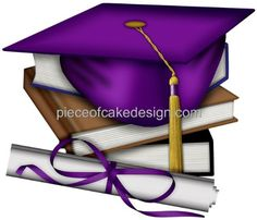 14 Sheet  Purple Graduation Cap  Books Birthday  Edible Image CakeCupcake Topper ** Click on the image for additional details.