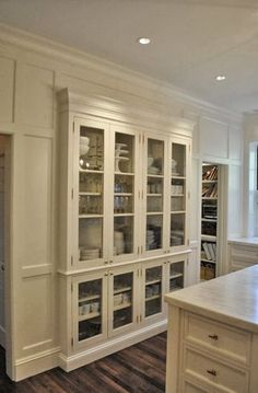 Built-in hutch with glass. I like the wainscoting on the walls making the entire space look like a built in hutch Home, Home Kitchens, Kitchen Remodel, Kitchen Design, Diy Kitchen Storage, Traditional Kitchen Cabinets, Diy Kitchen, Pantry Design, Stand Alone Kitchen Pantry