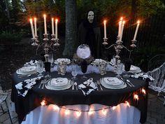 An elegant Halloween dinner under the stars.  Love this idea!