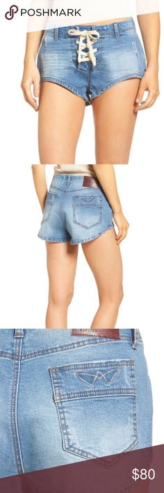 One Teaspoon 1960s Denim Shorts in 27 Blue Stone New with tags. No flaws. Ships quickly from a smoke-free home! No trades. Revisit the free-spirited '60s with retro-inspired stretch-denim shorts styled with a lace-up fly and curved, leggy hemline.     - Lace-up fly     - Back patch pockets     - 97% cotton, 3% elastane One Teaspoon Shorts Jean Shorts