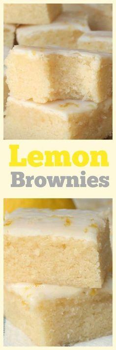 LEMON LOVERS! Soft n Chewy Lemon Brownies! Lemon Desserts, Lemon Recipes, Mini Desserts, Just Desserts, Sweet Recipes, Baking Recipes, Delicious Desserts, Yummy Food, Soft Food Recipes
