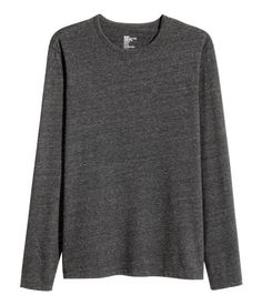 Black. Long-sleeved T-shirt in stretch jersey with a round neckline.