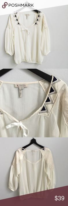 BCBGeneration Cream Embroidered Sheer Peasant Top So dreamy! Sheer cream colored fabric with dark blue triangle embroidery on the shoulders. The fabric on the shoulders is silky. Elastic around the bottom. **Bundles receive 20% off + a free gift!** BCBGeneration Tops