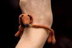 crochet dachshund bracelet