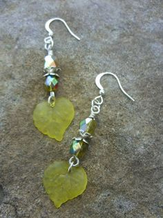Yellow leaves and Yellow Vitrail Jablonex dangle by uniqueeuphoria, $8.00
