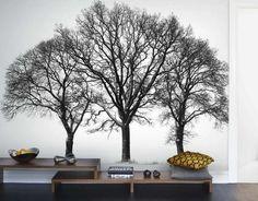 silhouettes d'arbres noir et blanc pour le salon contemporain