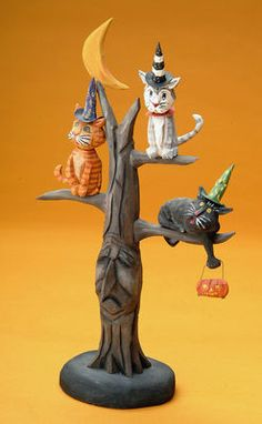 """Halloween folk art wood carving """"Treed"""" by The Whimsical Whittler"""