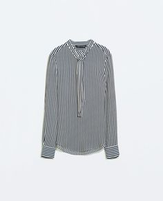 TIED LONG-SLEEVED STRIPED BLOUSE-Blouses-Tops-WOMAN | ZARA United States