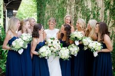 Blue and White Wedding Ideas - navy-bridesmaid-dresses