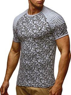 1192367f27a2 Amazon LEIF NELSON Herren T-Shirt Rundkragen   Kurzarm-Shirt Slim Fit    Männer T-Shirt lang Rundhals Ausschnitt   04250863676379