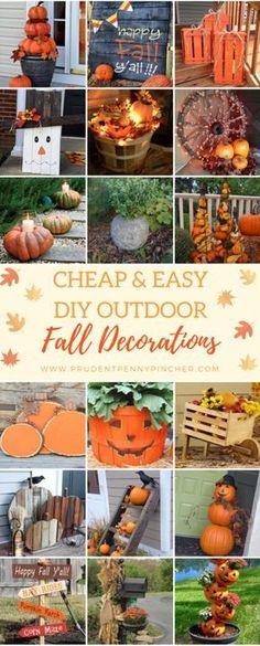 20 DIY Outdoor Fall Decorations That'll Beautify Your Lawn And DIY Outdoor Fall Decorations That'll Beautify Your Lawn And Garden - Easy diy projects! via Cheap and Easy DIY Outdoor Fall DecorationsGet your Autumn Crafts, Holiday Crafts, Holiday Decor, Diy Décoration, Easy Diy, Hammock Diy, Fall Projects, Diy Projects, Porch Decorating