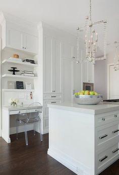 Stacked White Floating Shelves Over Built In Desk