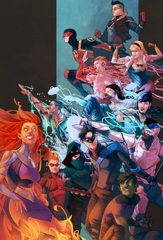 Youngsters fighting for justice. Teen Titans, by Jamal Campbell. I love Cyborg, Raven, and Wonder Girl in this!