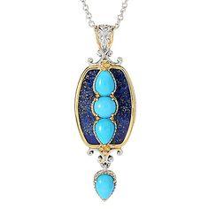 2c229d62e9aa Gems en Vogue 21 x 15mm Lapis   Sleeping Beauty Turquoise Pendant w  Chain  on sale at evine.com