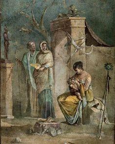 Nymph Leucothea feeding baby Dionysos Villa Farnesina Roman wall painting fresco 1st c AD Italy
