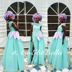 Lovely Blue Dress with Lilac & Blue Gele