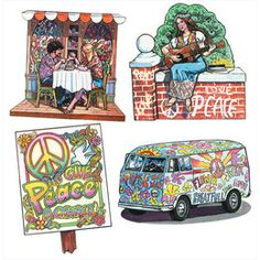 Décorations murales - Années 60 et 70 - Peace and Love (lot de 4)  Peace and love !