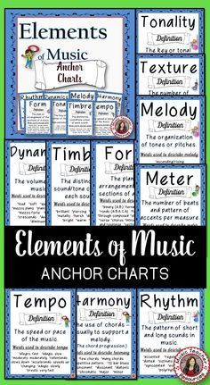 Music Posters Of The Elements Of Music Music Anchor Charts Teaching Music Music Bulletin Board
